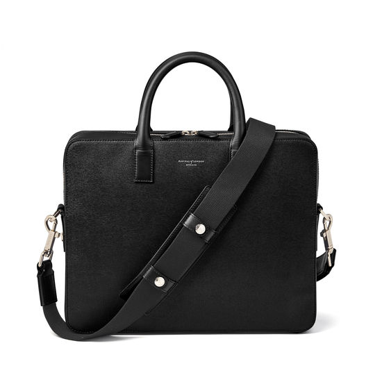 Slim Mount Street Bag in Black Saffiano from Aspinal of London