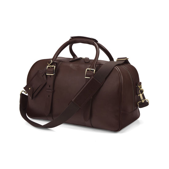 Small Harrison Weekender Travel Bag in Smooth Chocolate Brown from Aspinal of London
