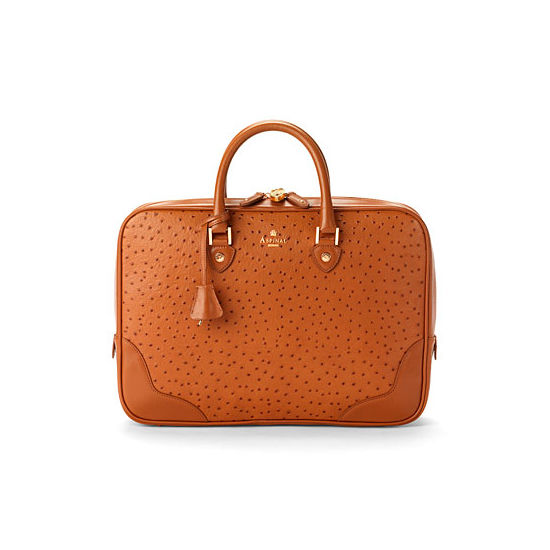 Mount Street Business Bag in Tan Ostrich from Aspinal of London