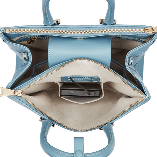Midi Madison Tote in Bluebird Saffiano from Aspinal of London