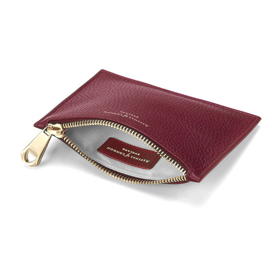 Small Essential Flat Pouch in Bordeaux Pebble from Aspinal of London