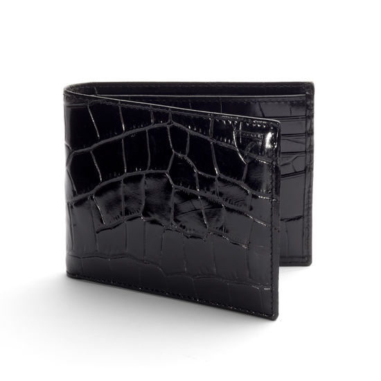 8 Card Billfold Wallet in Deep Shine Black Croc & Cobalt Suede from Aspinal of London