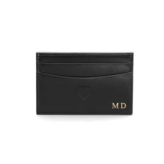 Slim Credit Card Case in Smooth Black with Grey Contrast Stitching from Aspinal of London