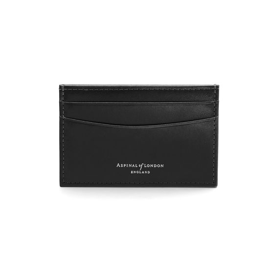 Slim Credit Card Case in Smooth Black from Aspinal of London