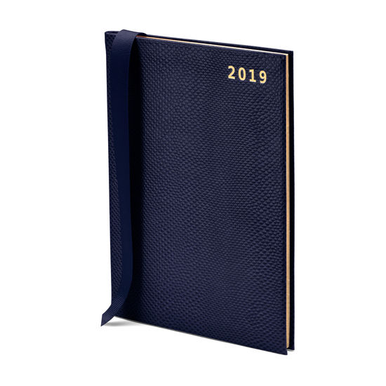 A5 Week to View Leather Diary in Midnight Blue Lizard from Aspinal of London