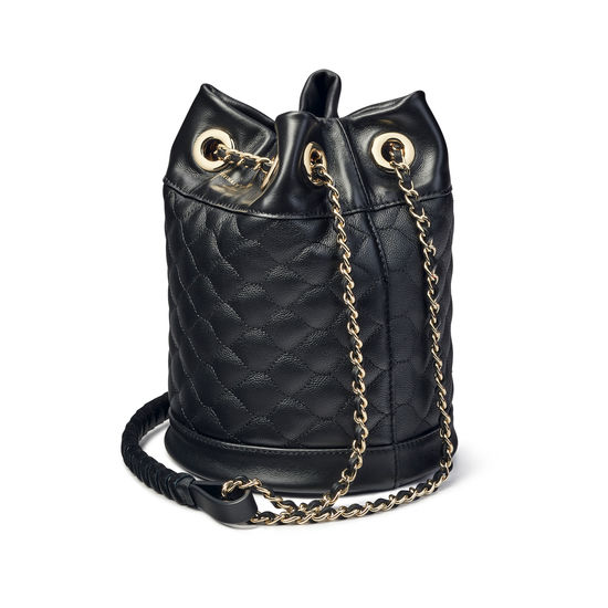 Duffle Bag in Black Quilted Kaviar from Aspinal of London