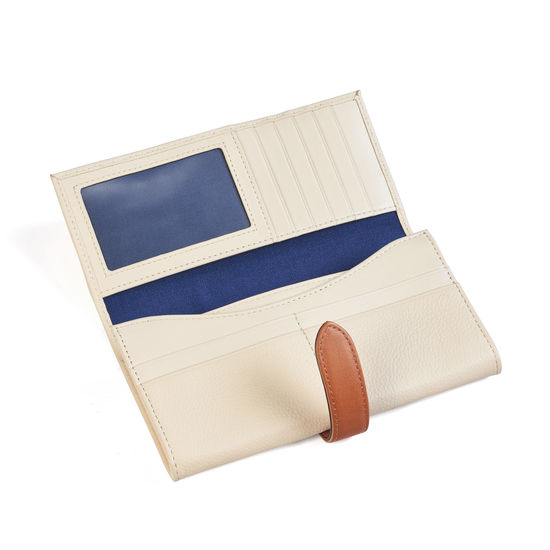 London Ladies Purse Wallet in Ivory Pebble & Smooth Tan from Aspinal of London