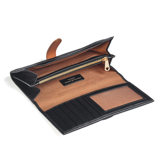 London Ladies Purse Wallet in Black Pebble & Smooth Tan from Aspinal of London