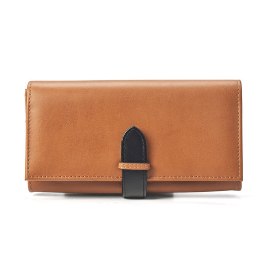 London Ladies Purse Wallet in Smooth Tan & Black from Aspinal of London
