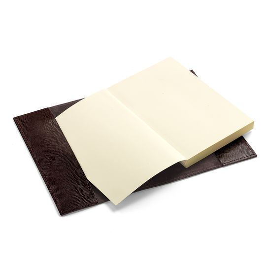 A5 Refillable Leather Journal in Chocolate Brown Lizard from Aspinal of London