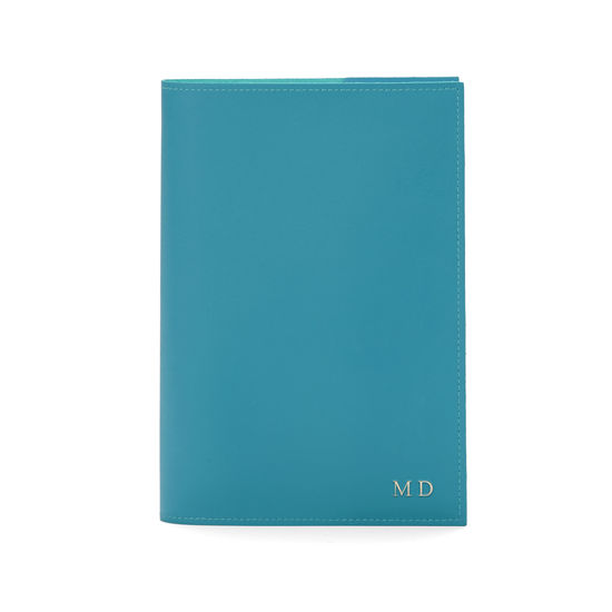 A5 Refillable Leather Journal in Smooth Turquoise from Aspinal of London