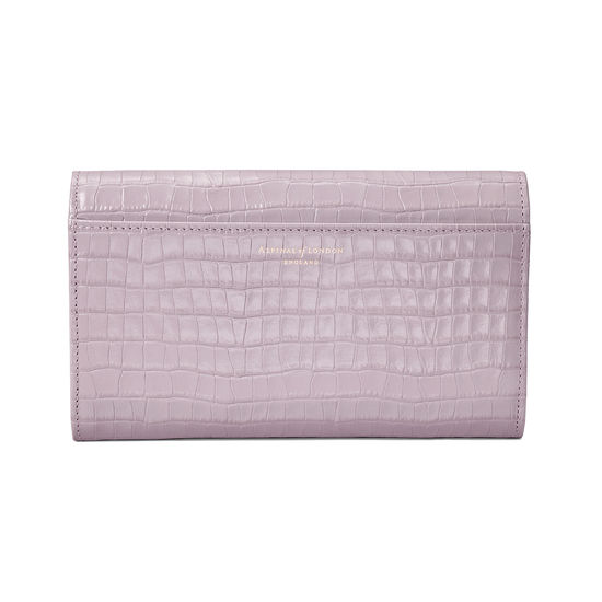 Mayfair Purse in Deep Shine Lilac Small Croc from Aspinal of London