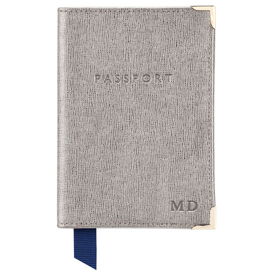 Passport Cover in Gunmetal Saffiano from Aspinal of London