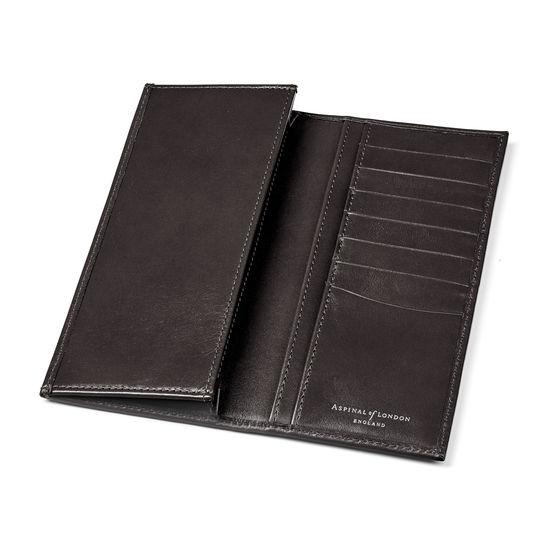Slim Breast Pocket Wallet in Smooth Black & Cobalt Blue Suede from Aspinal of London