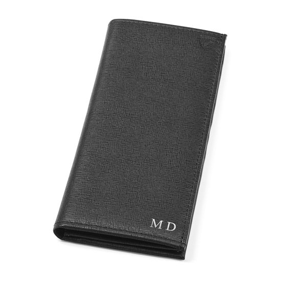 Slim Breast Pocket Wallet in Black Saffiano from Aspinal of London