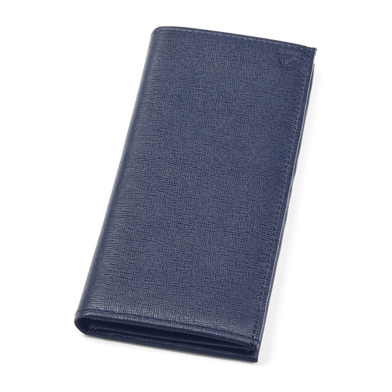 Slim Breast Pocket Wallet in Navy Saffiano from Aspinal of London