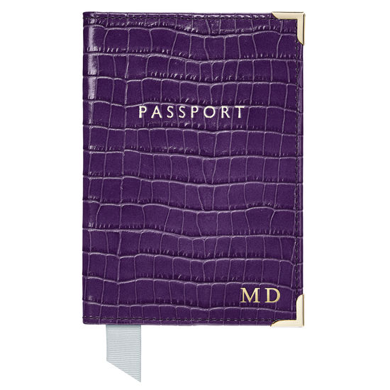 Passport Cover in Deep Shine Amethyst Small Croc from Aspinal of London