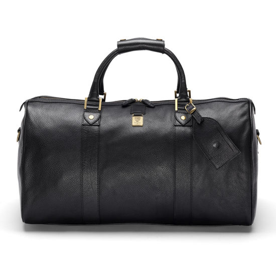 Boston Bag in Black Pebble Calf from Aspinal of London