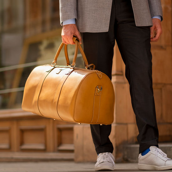 Boston Travel Bag in Smooth Tan from Aspinal of London
