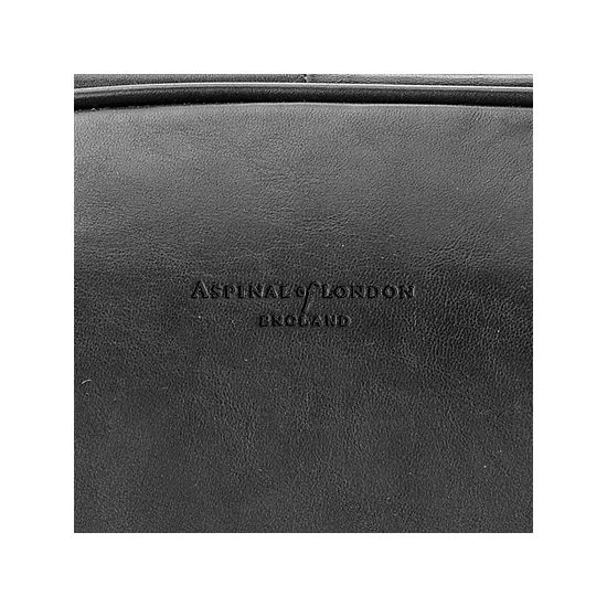 Large Harrison Weekender Travel Bag in Smooth Black from Aspinal of London