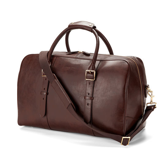 Large Harrison Weekender Travel Bag in Smooth Chocolate Brown from Aspinal of London