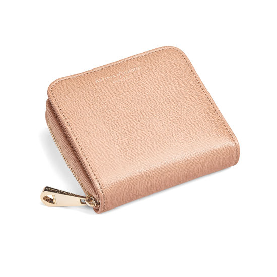 Aspinal of London Mini Continental Zipped Coin Purse in Deer Saffiano.