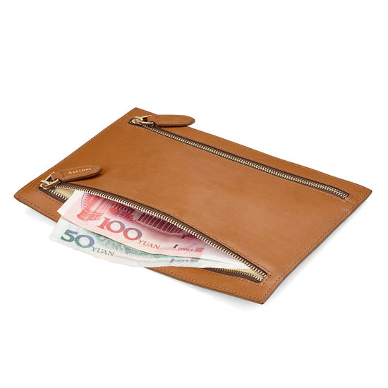 Multi Currency Wallet in Smooth Tan from Aspinal of London