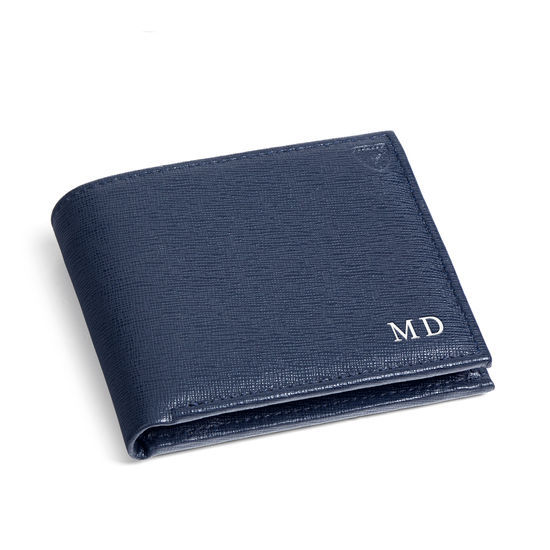 Billfold Coin Wallet in Navy Saffiano from Aspinal of London