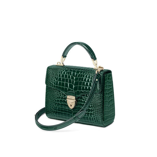 Midi Mayfair Bag in Evergreen Patent Croc from Aspinal of London