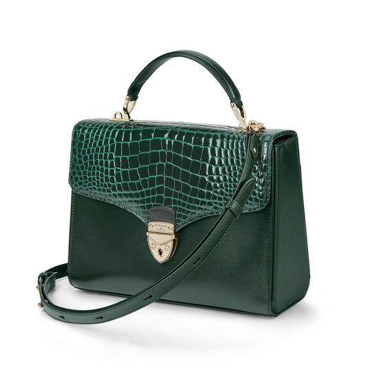 Mayfair Bag in Evergreen Patent Croc & Smooth Evergreen from Aspinal of London