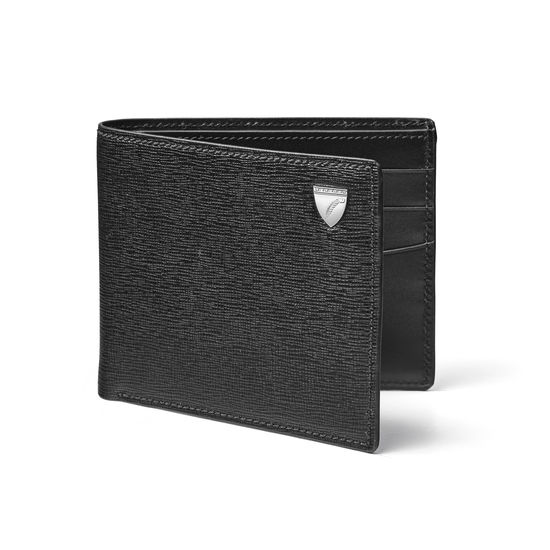 6 Card Billfold Wallet in Black Saffiano & Smooth Black from Aspinal of London