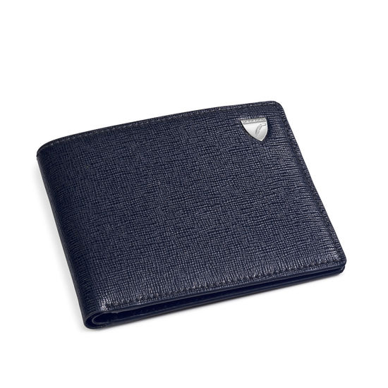 6 Card Billfold Wallet in Navy Saffiano & Smooth Navy from Aspinal of London