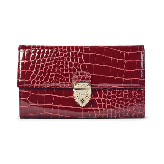 Mayfair Purse in Bordeaux Patent Croc from Aspinal of London