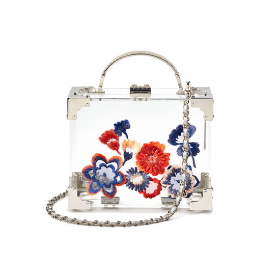 Mini Trunk Clutch in Transparent Acrylic with Hand-Embroidered Flowers from Aspinal of London