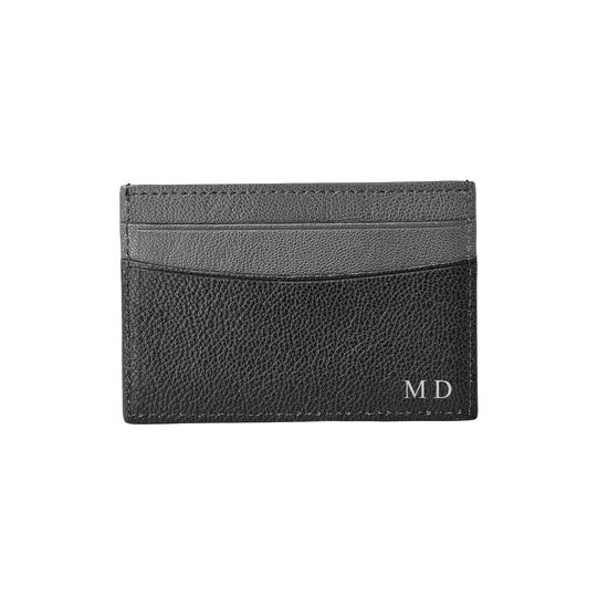 Slim Credit Card Holder in Black & Grey Goatskin from Aspinal of London