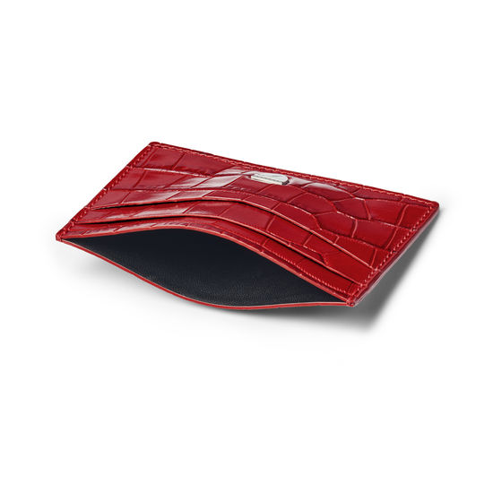 Slim Credit Card Holder in Deep Shine Red Small Croc from Aspinal of London