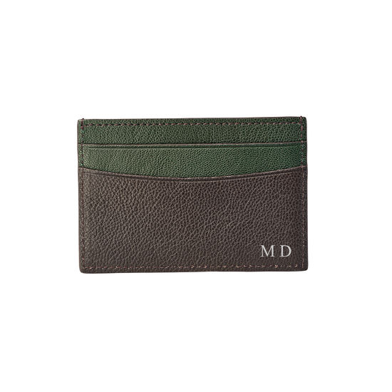 Slim Credit Card Holder in Chocolate & Green Goatskin from Aspinal of London