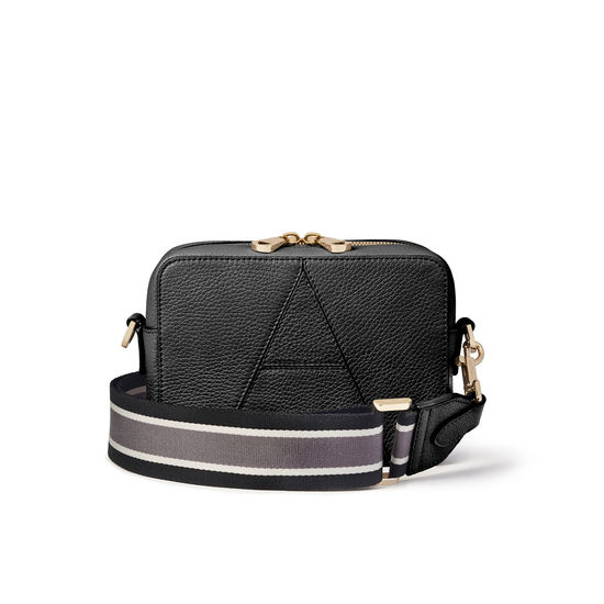 Camera 'A' Bag in Black Pebble with Webbing Strap from Aspinal of London