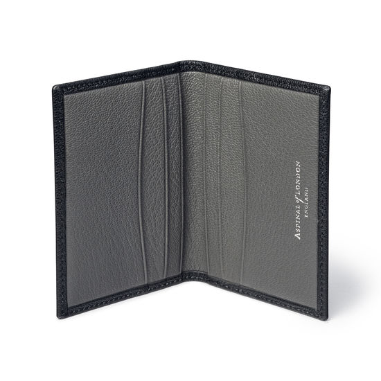 Double Fold Credit Card Holder in Black & Grey Goatskin from Aspinal of London