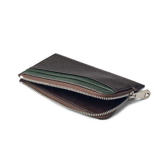 Zipped Card Wallet in Chocolate & Green Goatskin from Aspinal of London