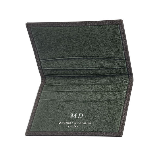 Double Fold Credit Card Holder in Chocolate & Green Goatskin from Aspinal of London