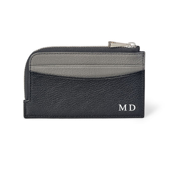 Zipped Card Wallet in Black & Grey Goatskin from Aspinal of London