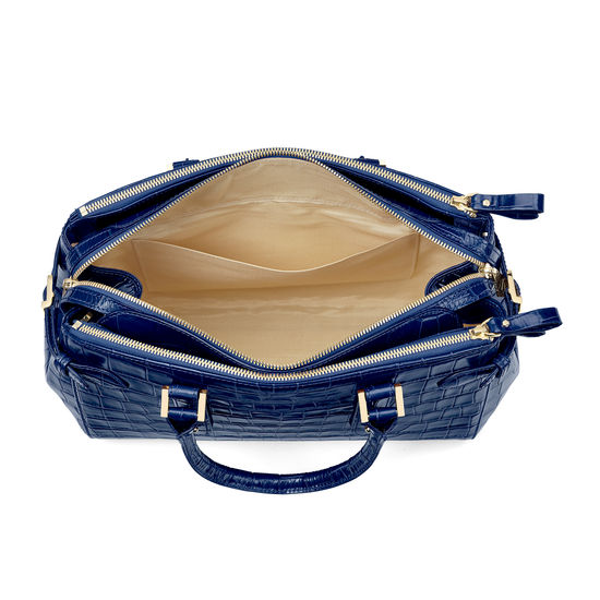 Brook Street Bag in Deep Shine Navy Croc from Aspinal of London