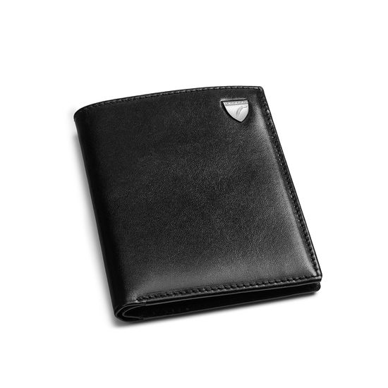 Credit Card Wallet with Notes Pocket in Smooth Black from Aspinal of London