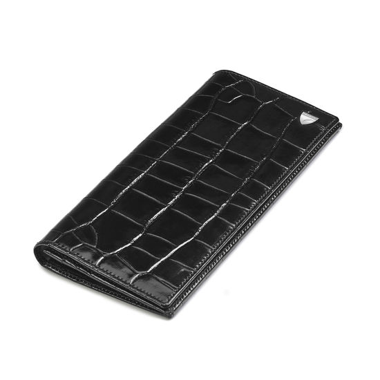 10 Card Slim Coat Wallet in Deep Shine Black Croc from Aspinal of London
