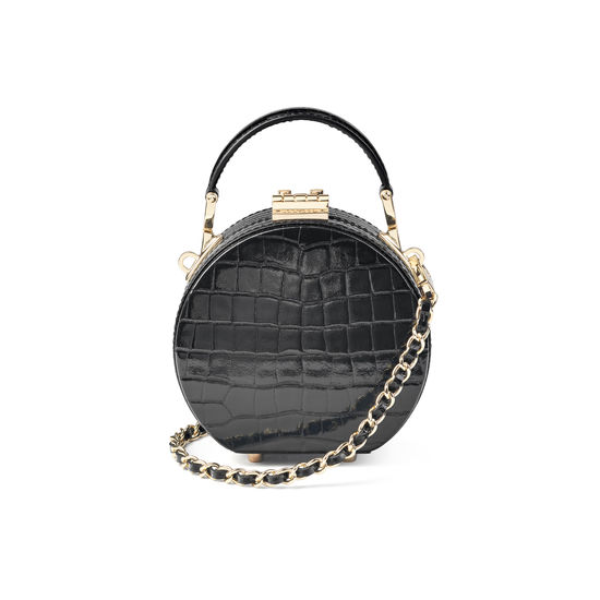 Micro Hat Box in Black Patent Croc from Aspinal of London