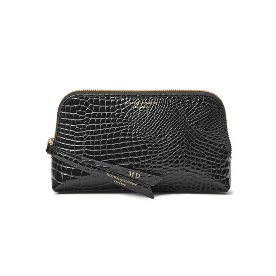 Small Essential Cosmetic Case in Black Patent Croc from Aspinal of London