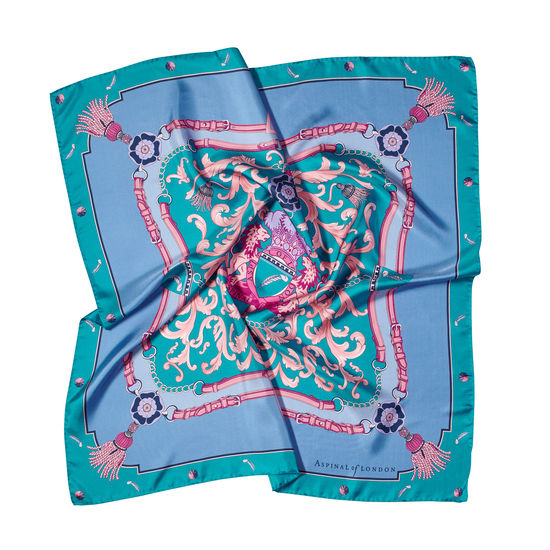 Aspinal Signature Shield Silk Scarf in Bluebird from Aspinal of London