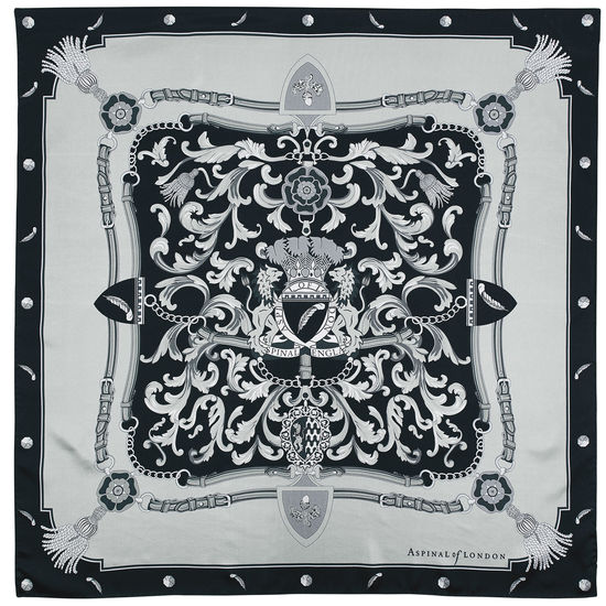 Aspinal Signature Shield Silk Scarf in Monochrome from Aspinal of London