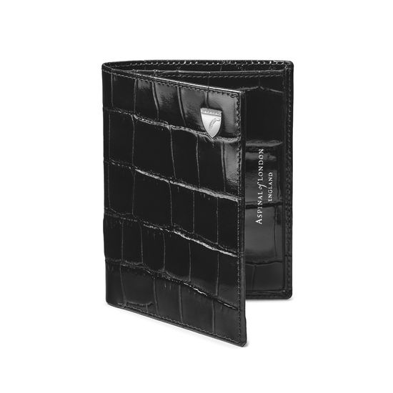 Credit Card Wallet with Notes Pocket in Deep Shine Black Croc from Aspinal of London
